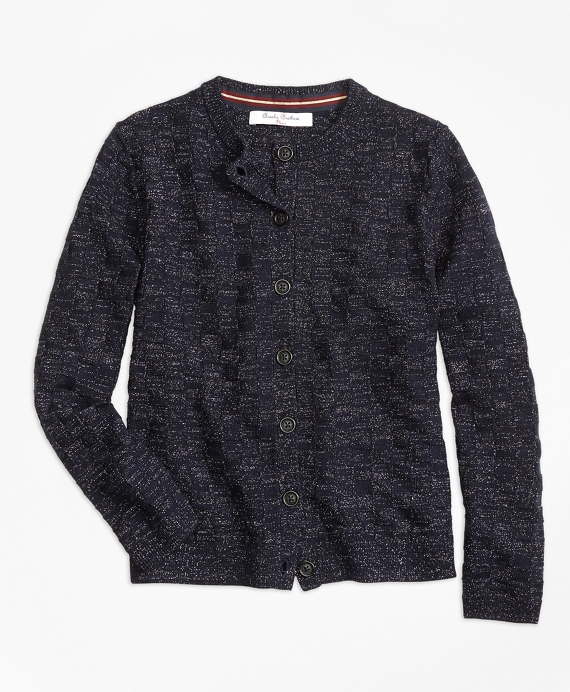 Merino Wool Basketweave Cardigan Navy