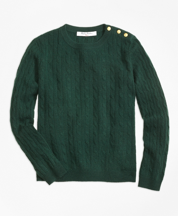 Cashmere Cable Crewneck Sweater Dark Green
