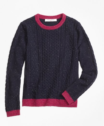 Lambswool Fisherman Cable Crewneck Sweater