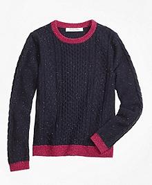 Lambswool Fisherman Cable Crewneck Sweater