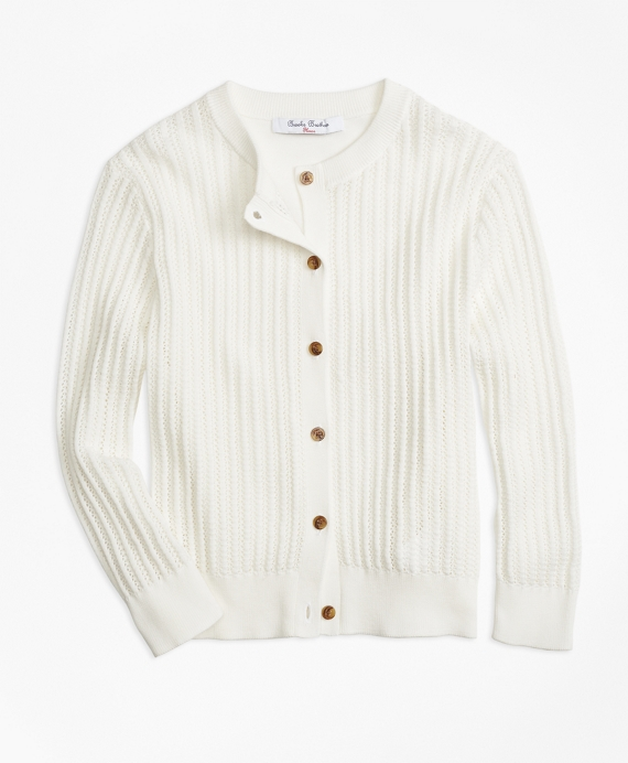 Three-Quarter Sleeve Cotton Cardigan White
