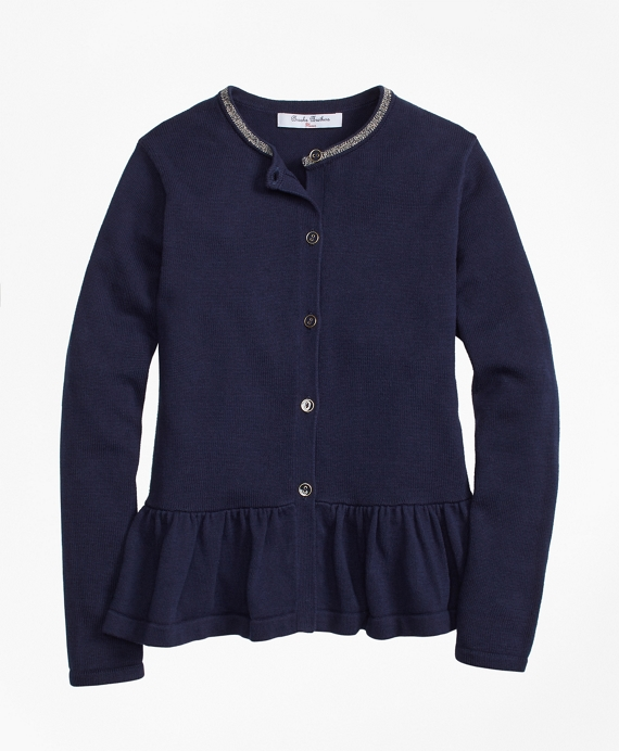 Cotton Ruffle Hem Cardigan Navy