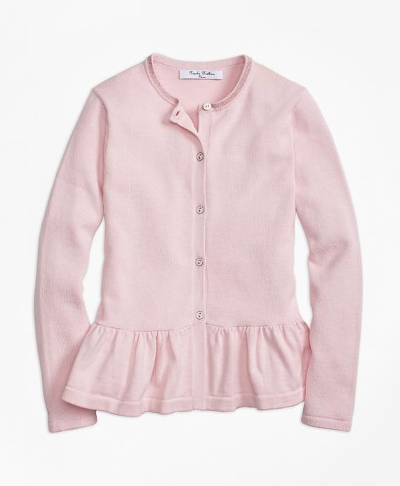 Cotton Ruffle Hem Cardigan Pink