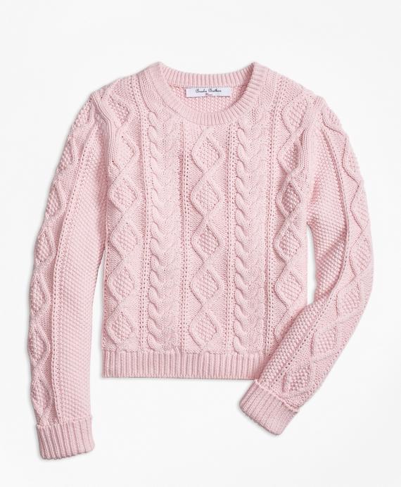 Aran Cable Crewneck Sweater Pink