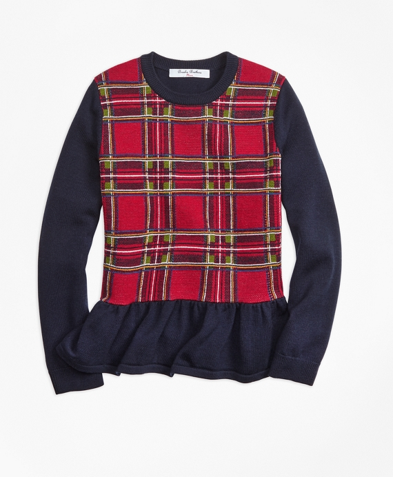 Merino Wool Holiday Tartan Peplum Sweater Red-Navy