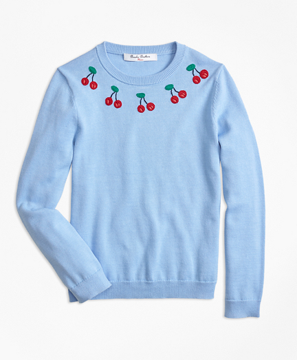 Cotton Cherry Embroidered Sweater