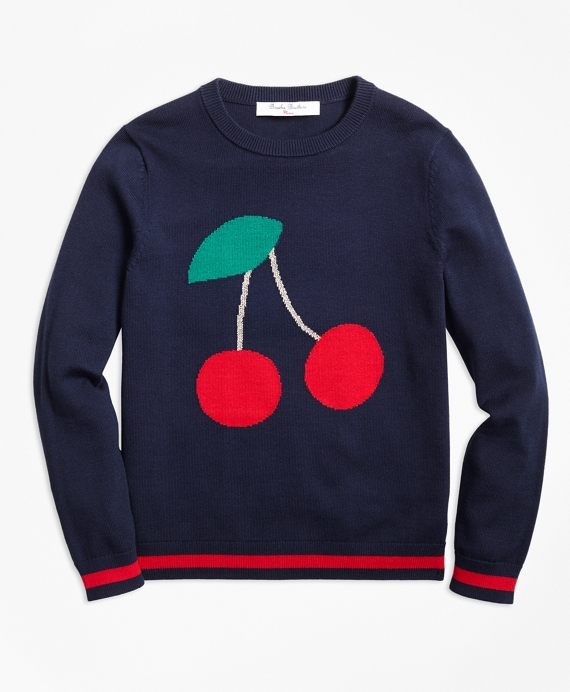 Cotton Crewneck Cherry Intarsia Sweater