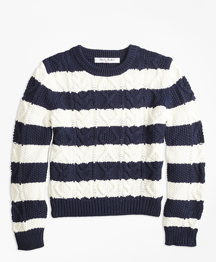 Cotton Aran Stripe Sweater
