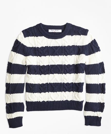 Cotton Aran Stripe Sweater