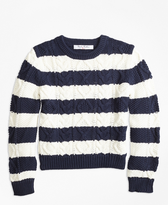 Cotton Aran Stripe Sweater Navy-White