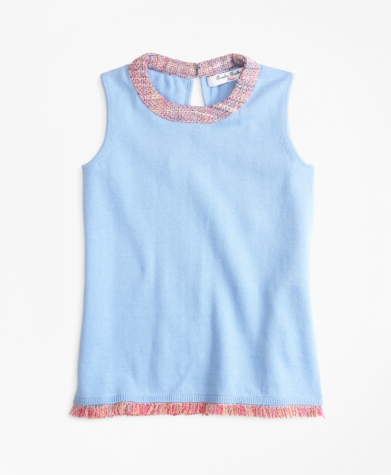 Cotton Boucle Trimmed Tank