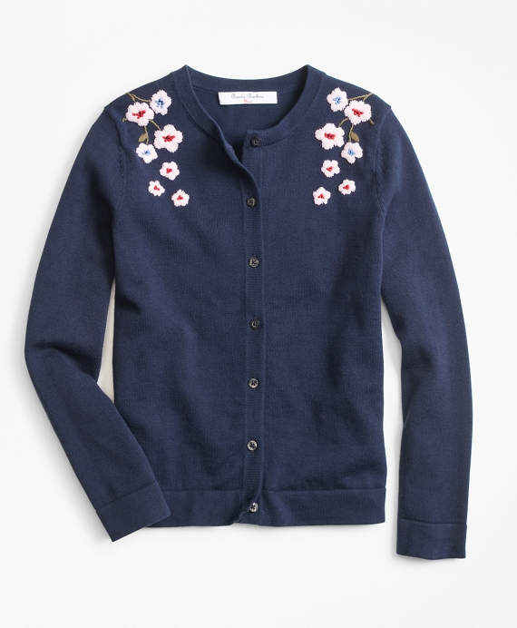Cotton Floral Cardigan Navy