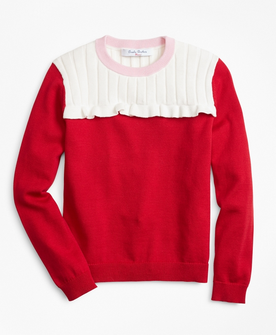 Cotton Color-Block Ruffle Sweater Red
