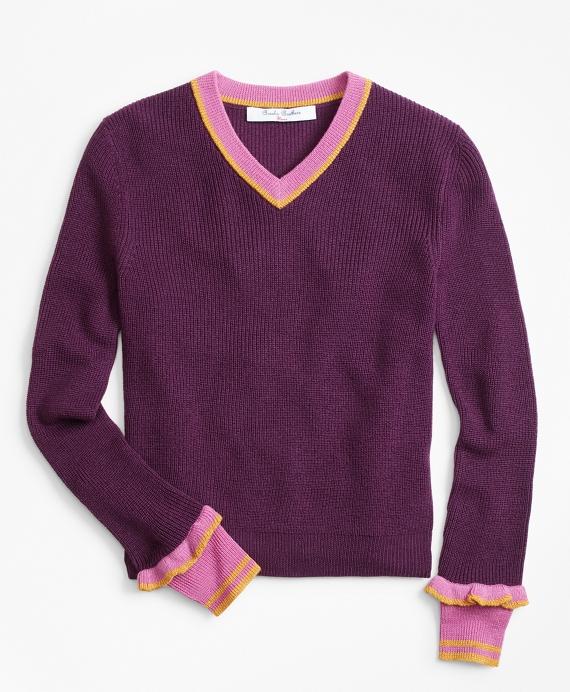 Merino Wool-Blend V-Neck Sweater Plum