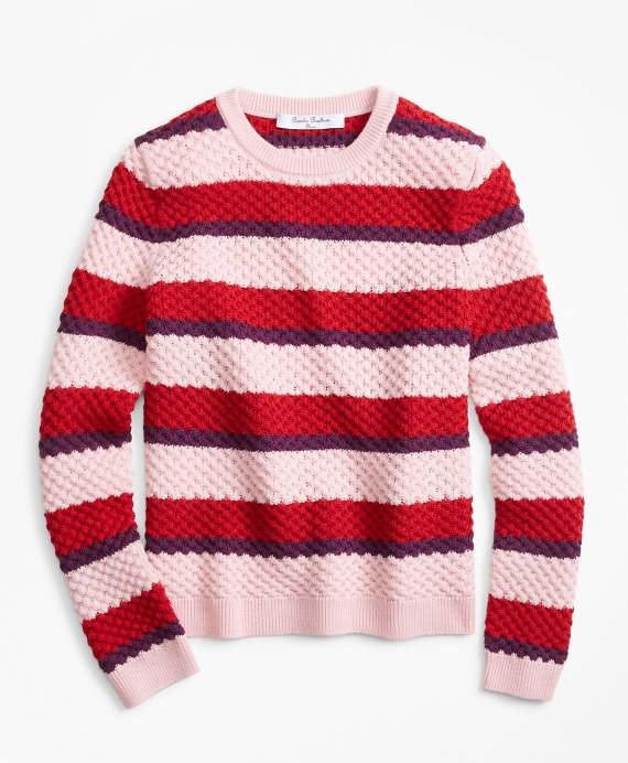 Merino Wool Stripe Sweater Pink-Multi