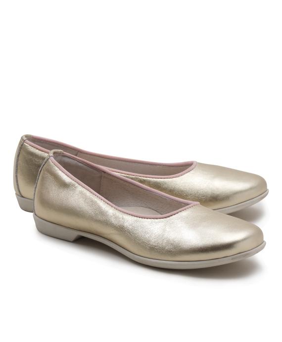 Calfskin Ballet Flats Gold
