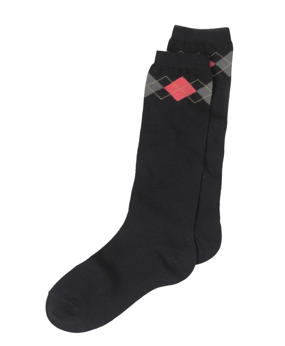 Argyle Knee-High Socks Navy