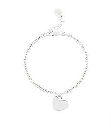 Sterling Silver Heart Drop Chain Bracelet