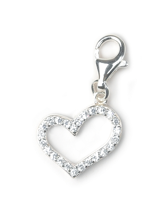 Sterling Silver Rhinestone Heart Charm As Shown