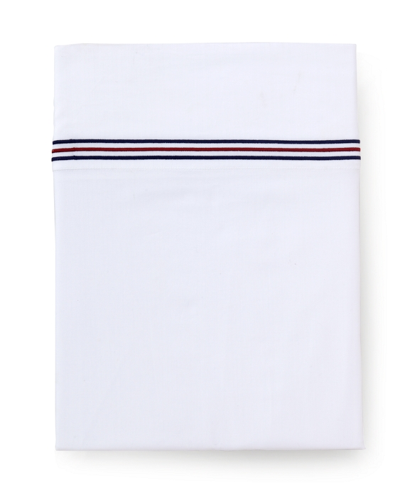 Herringbone Queen Flat Sheet White-Navy
