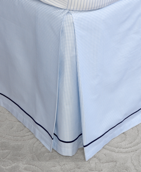 Windowpane Queen Bed Skirt Blue