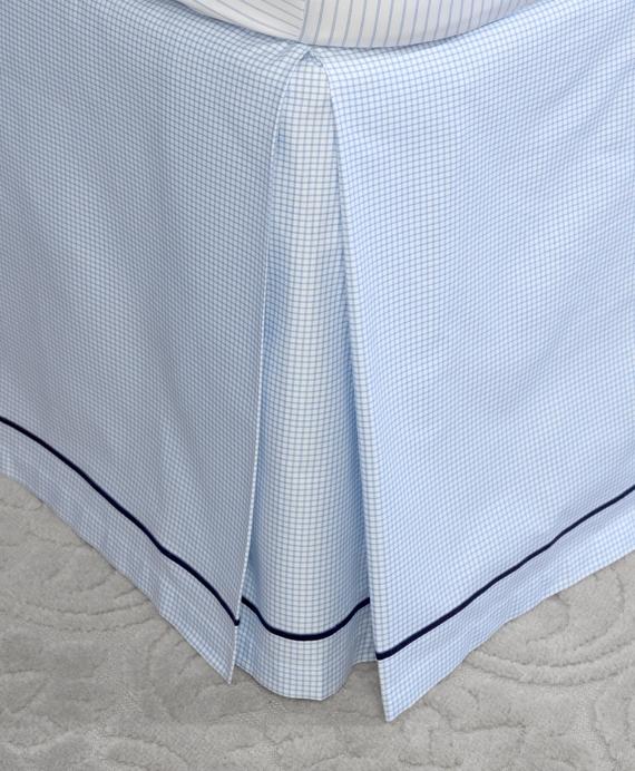 Windowpane King Bed Skirt Blue
