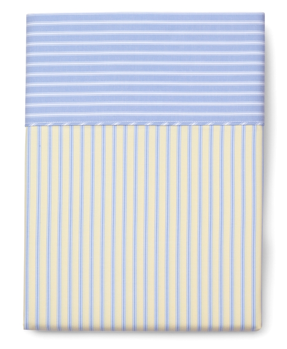 Stripe Queen Flat Sheet Yellow-Blue