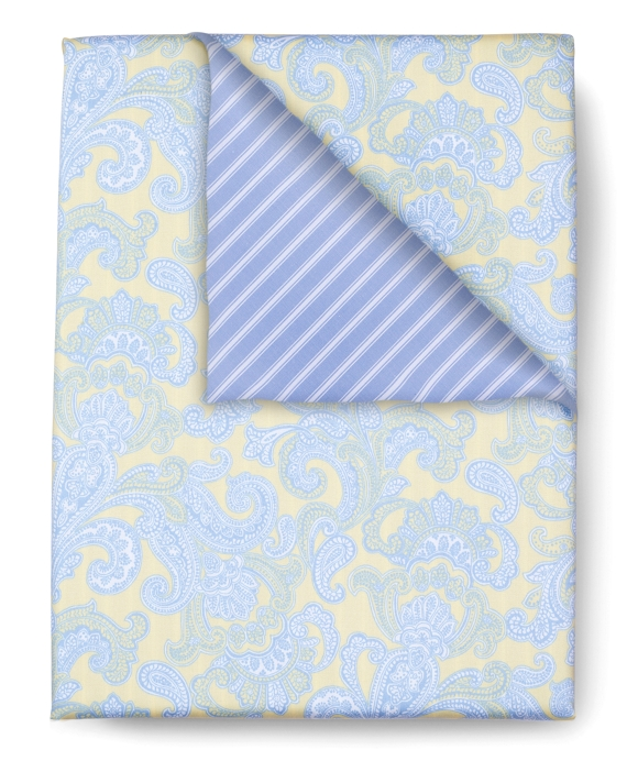 Paisley and Stripe Full/Queen Duvet Cover Yellow-Blue