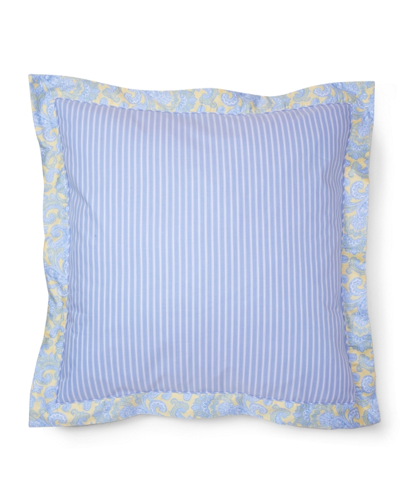 Stripe and Paisley Flange Euro Sham Blue-Yellow