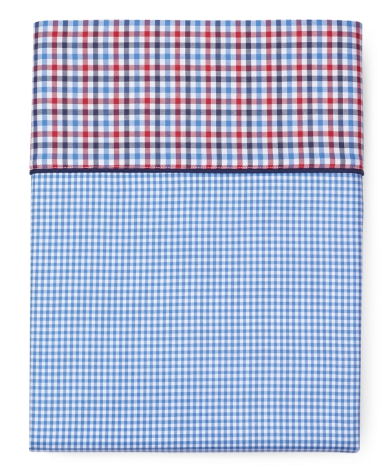 Gingham Queen Flat Sheet Blue