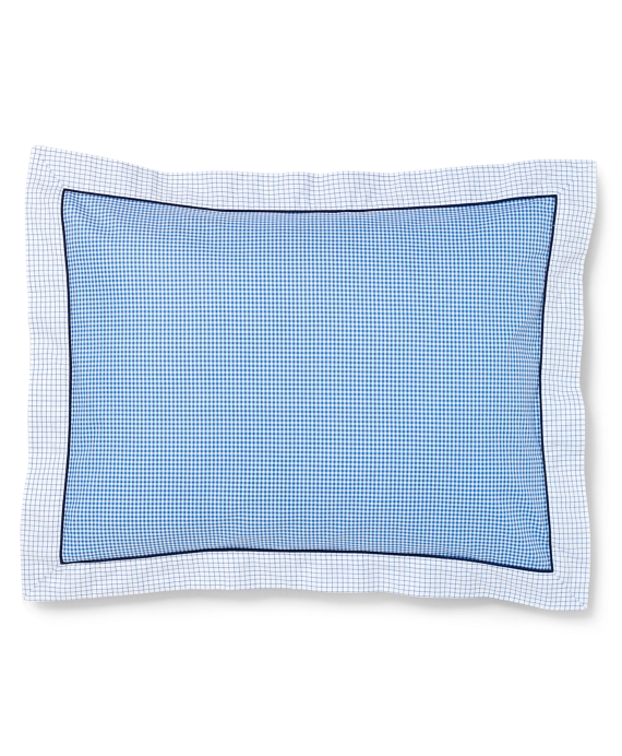 Gingham and Tattersall King Sham Blue