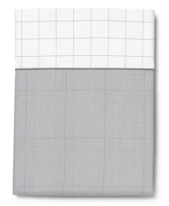 Glen Plaid Queen Flat Sheet Grey-White