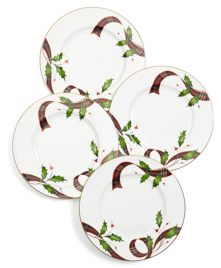 Signature Tartan Four-Piece China Dessert Plate Setting