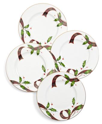 Signature Tartan Four-Piece China Dessert Plate Setting