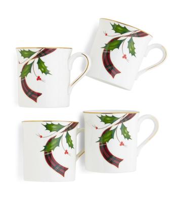 Signature Tartan Four-Piece China Mug Set
