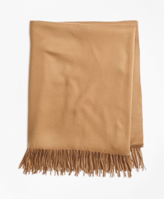 Saxxon Wool Blanket with Fringe Camel