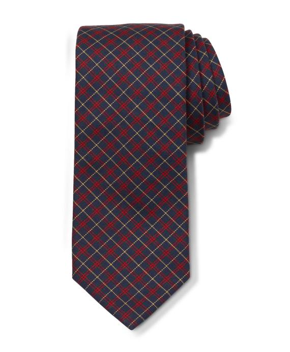 Extra-Long Twill Plaid Slim Tie Navy