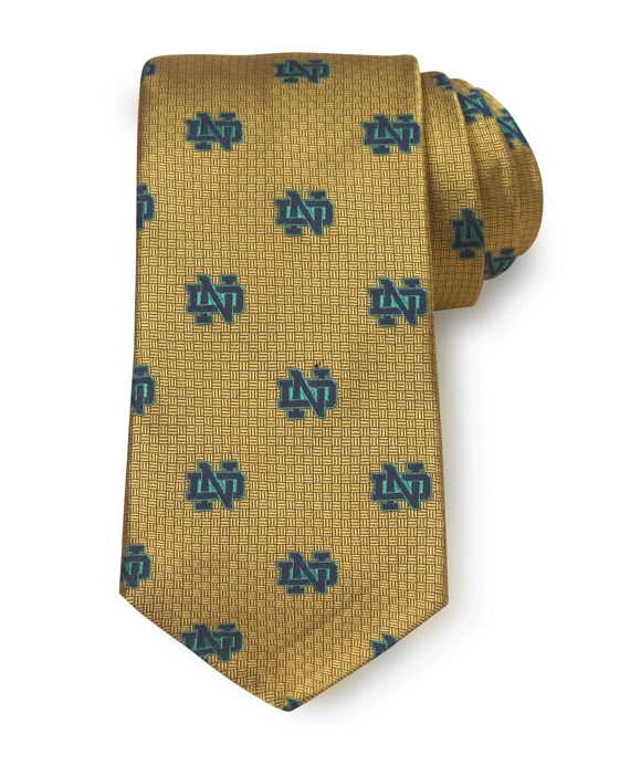 University of Notre Dame All-Over Logo Tie Gold-Green