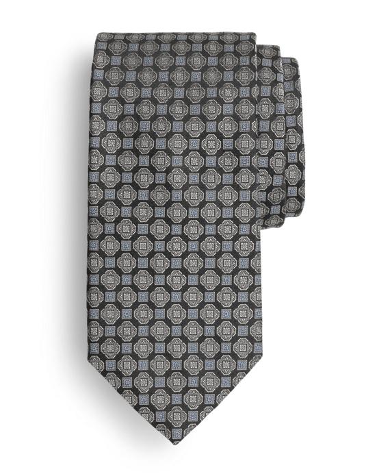 Satin Square Medallion Tie Black