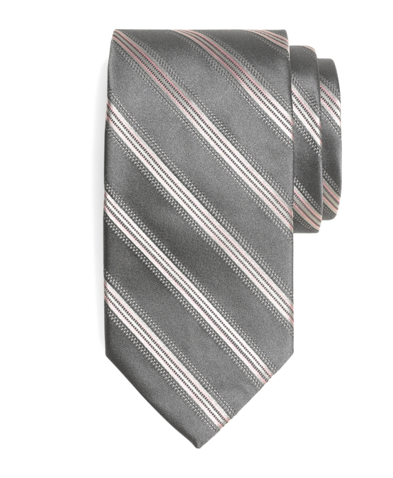 Pic and Pic Track Stripe Tie Grey