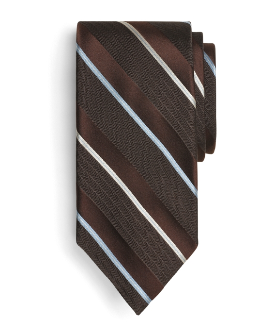 Golden Fleece® 7-Fold Satin Herringbone Stripe Tie Brown