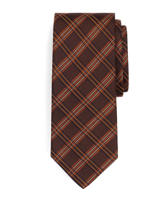 Windowpane Check Tie Brown