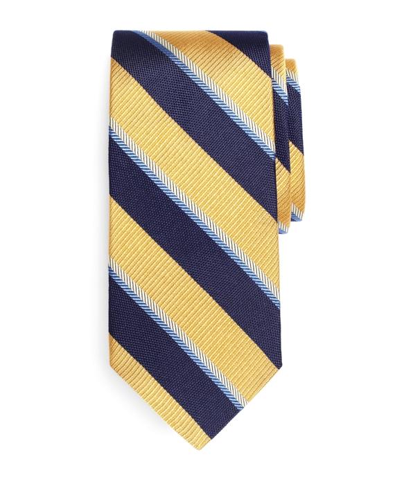 Multi-Weave Sidewheeler Stripe Tie Gold
