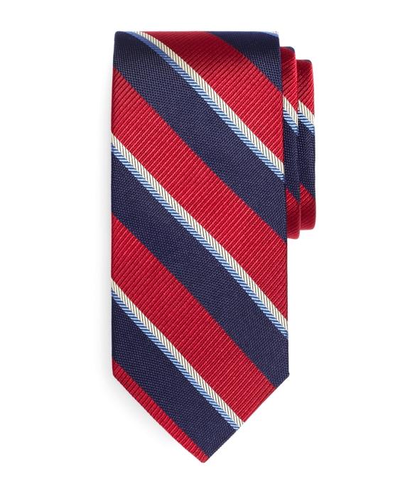 Multi-Weave Sidewheeler Stripe Tie Red