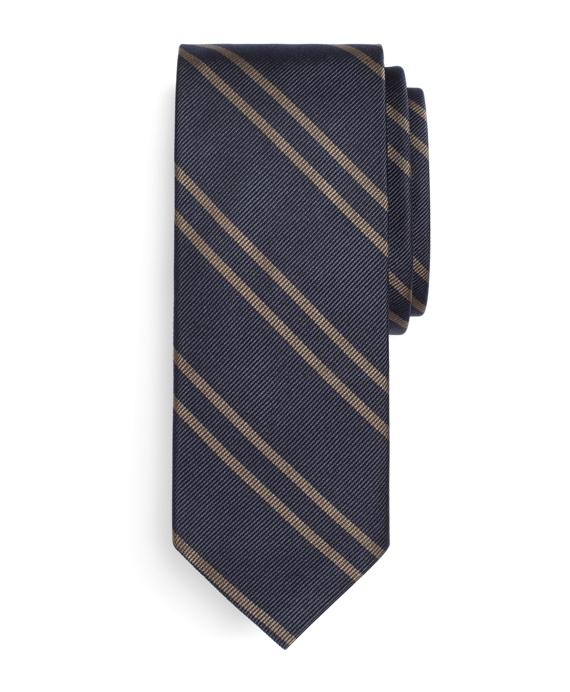 Twin Stripe Slim Tie Blue