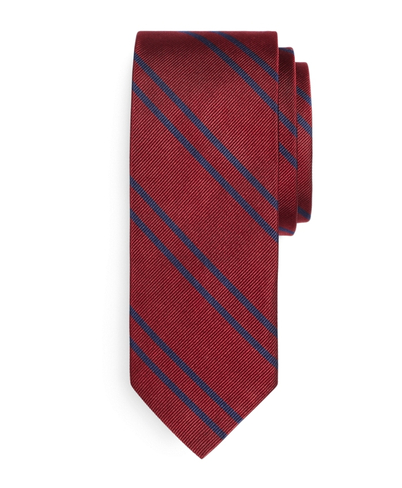 Twin Stripe Slim Tie Burgundy