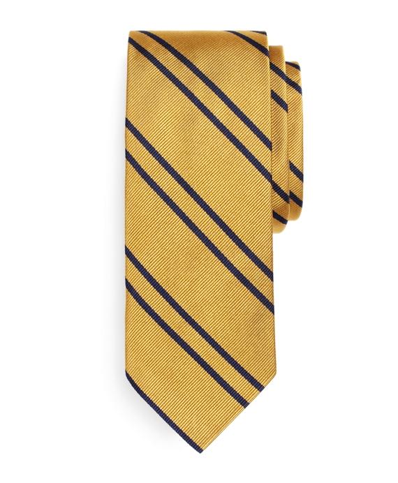 Twin Stripe Slim Tie Gold
