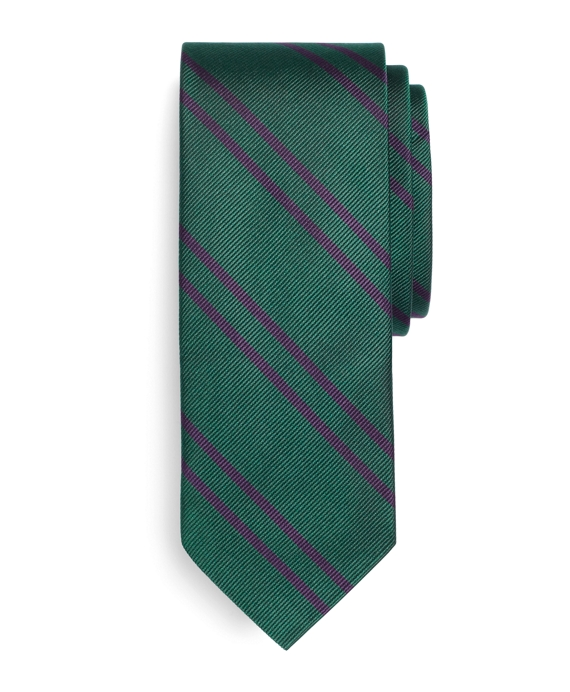 Twin Stripe Slim Tie Green