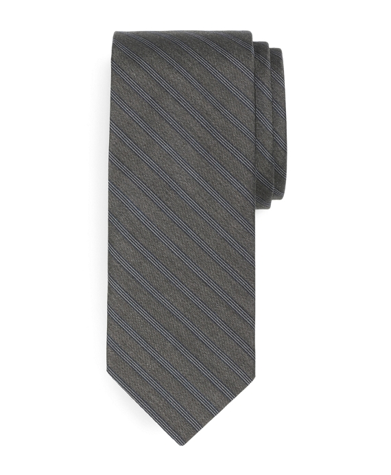 Slim Micro Triple Stripe Tie Grey