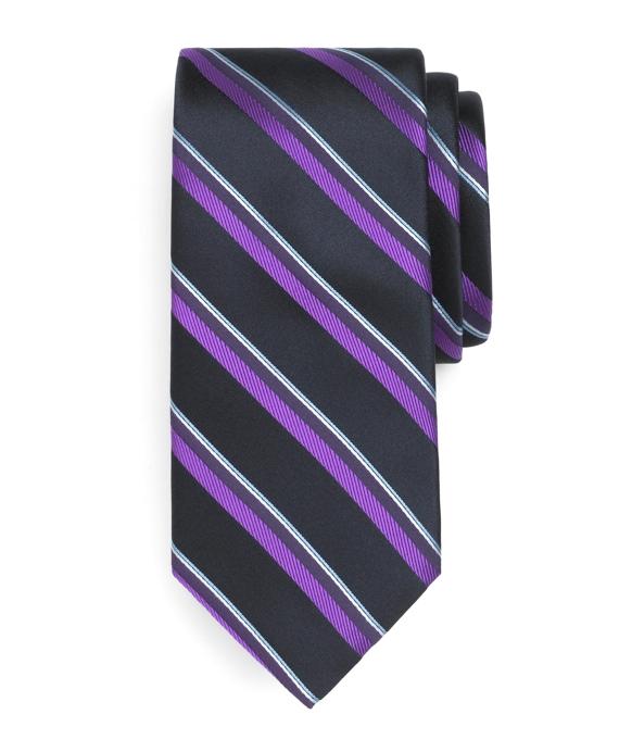 Golden Fleece® Satin Double Sidewheeler Stripe Tie Navy